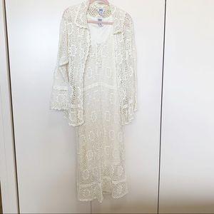 MONROE & MAIN OFF WHITE CROCHET DRESS  SET SIZE 1X
